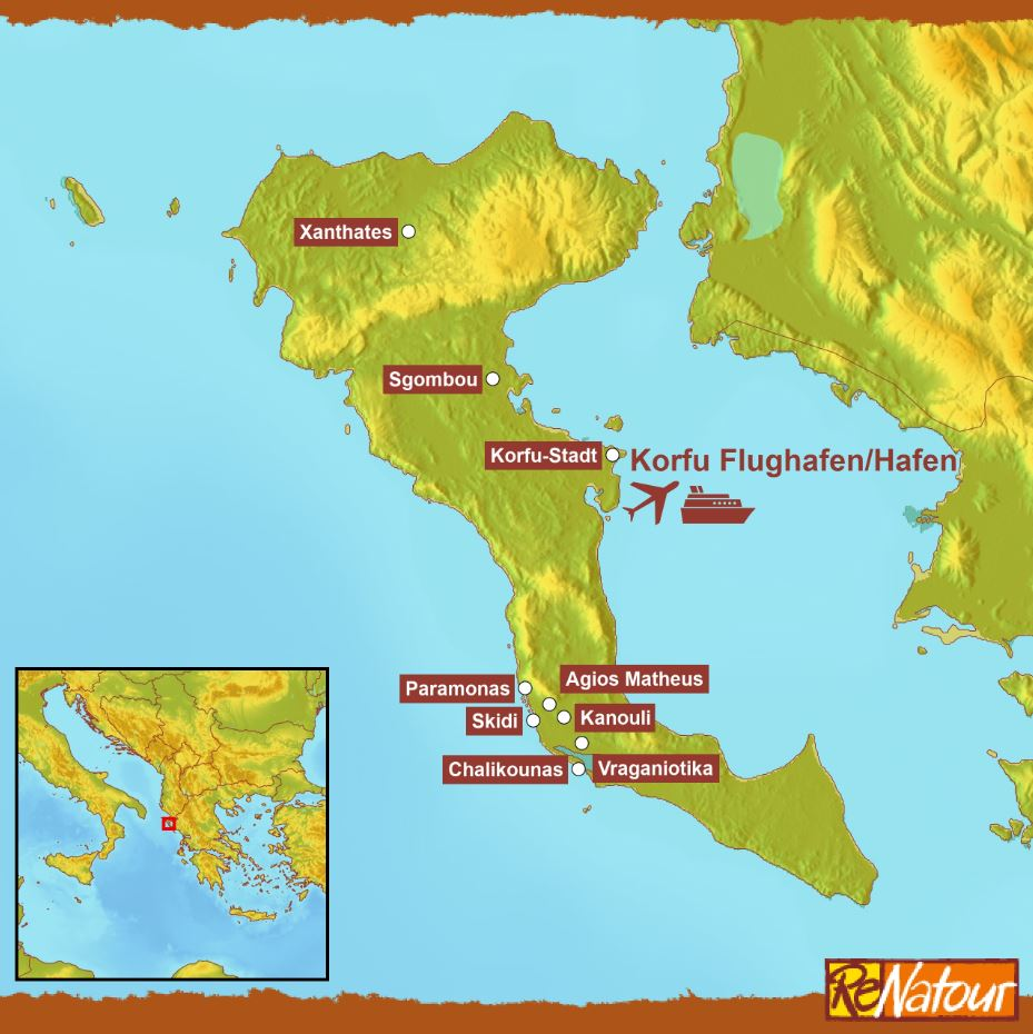 Korfu Landkarte Lage Ferienhäuser